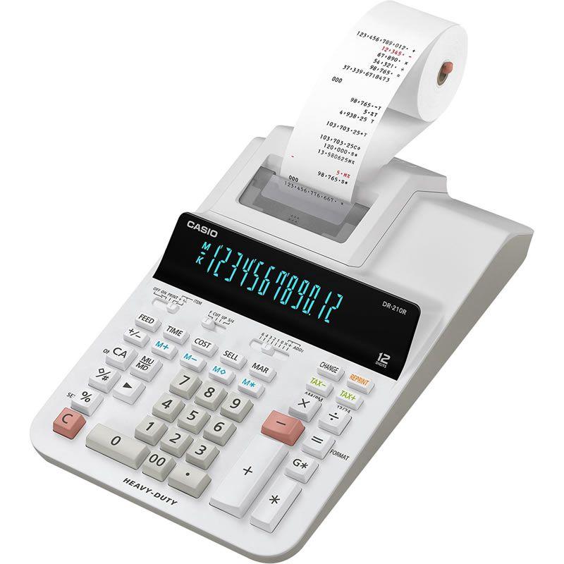 Calculadora Casio DR-210R-We-B-E-Dc Bivolt Com Bobina 12 Dig 4.4 Lin/Seg Branca 28212