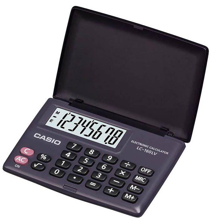 Calculadora de Bolso 8 Dígitos com Tampa Preta LC-160LV Casio 21724