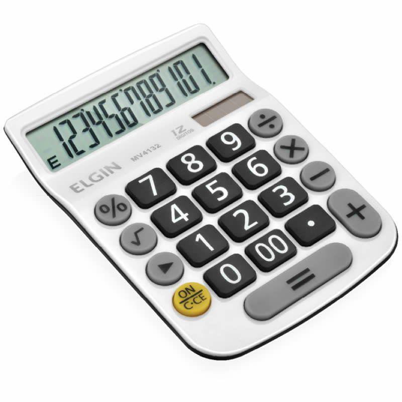 Calculadora de Mesa 12 Digitos Branca MV-4132 Elgin 23876