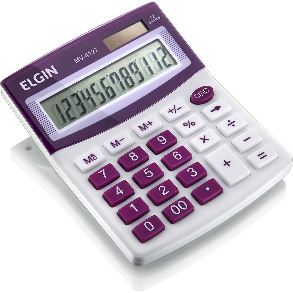 Calculadora de Mesa 12 Dígitos Roxa MV4127 Elgin 24457