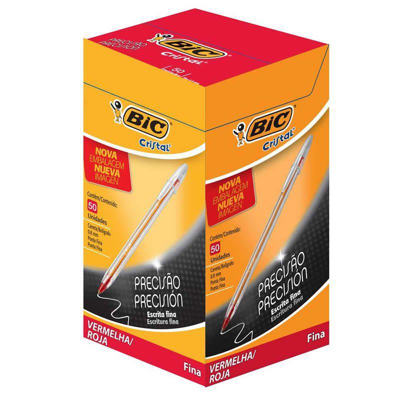 Caneta Esferografica Bic Fine Plus 0.8 Cristal Fina Vermelha 50 Un R.8866 15432