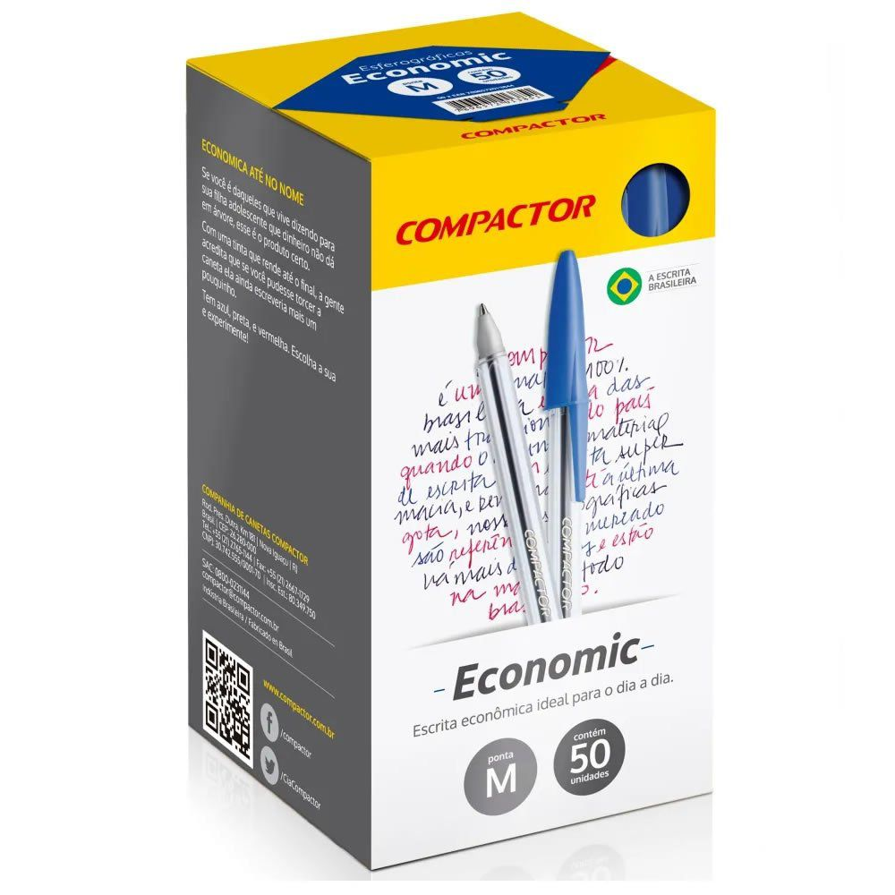 Caneta Esferográfica Compactor Economic Azul Caixa Com 50 Un. 14479