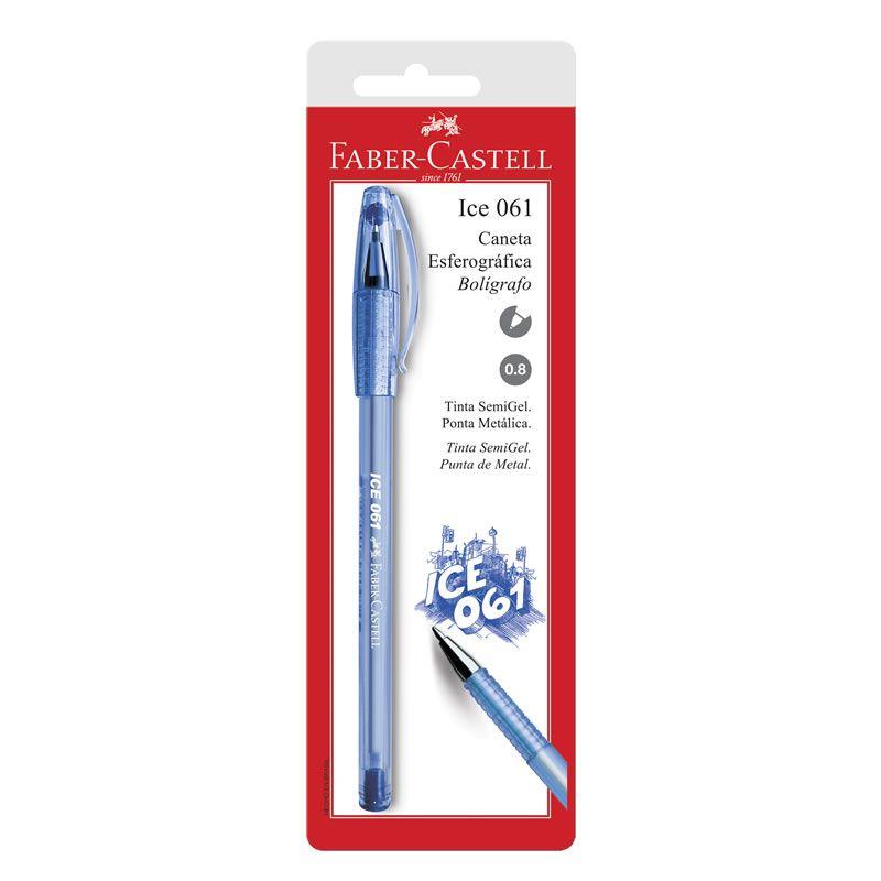 Caneta Esferográfica Faber-Castell Ice 0.8 Azul Iceaz 25029