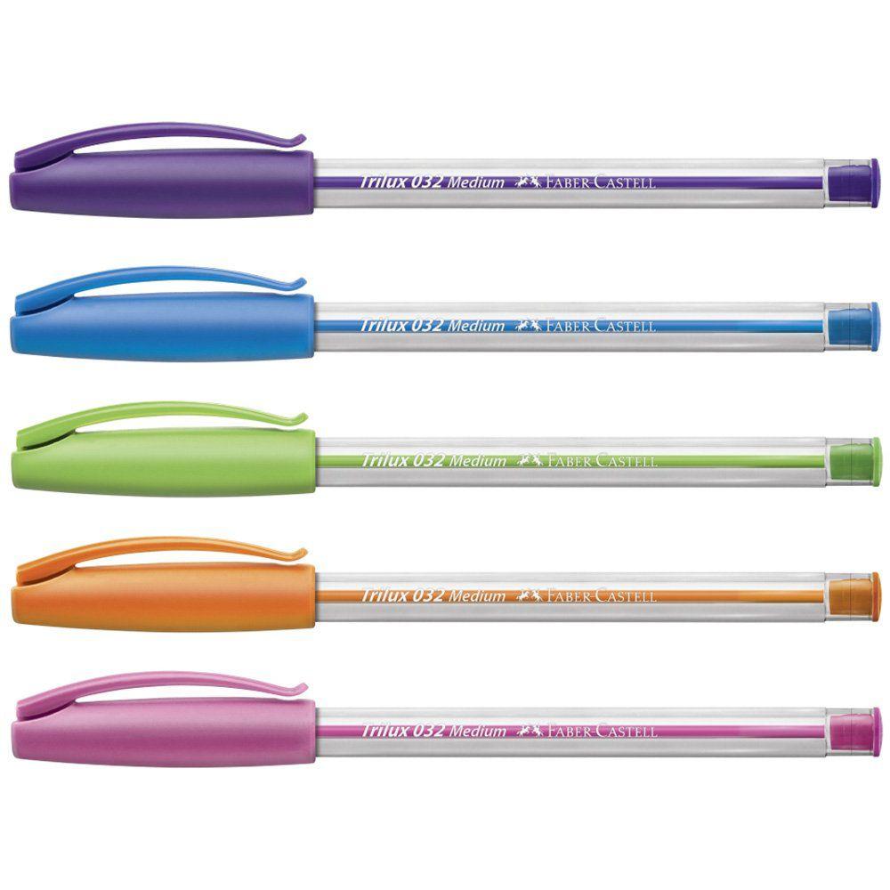 Caneta Esferográfica Faber-Castell Trilux Colors Rosa + Laranja + Roxa + Azul + Verde 032/Esc 26669