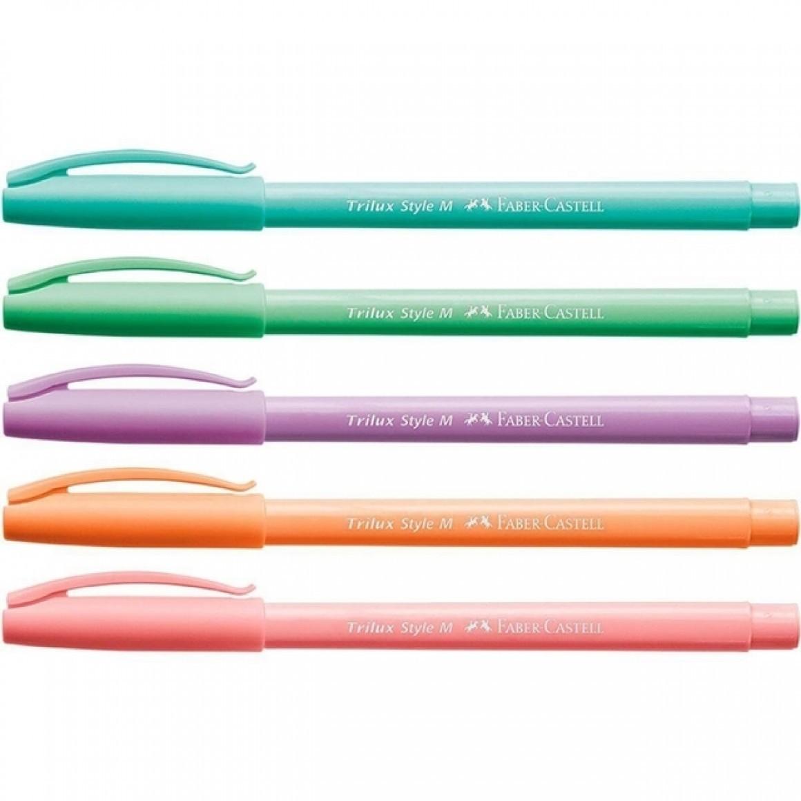 Caneta Esferografica Faber-Castell Trilux Style Colors 5 Cores 032/Es5Tp 29371