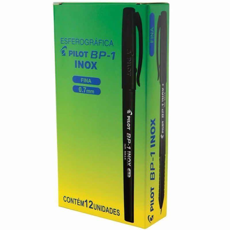 Caneta Esferográfica Pilot BP-1 0.7mm Inox Preta 12 Un. 22954