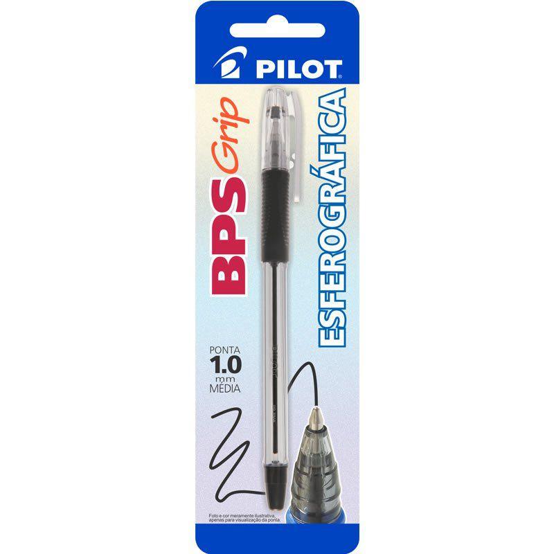 Caneta Esferográfica Preta 1.0mm BPS-Grip Pilot 01740