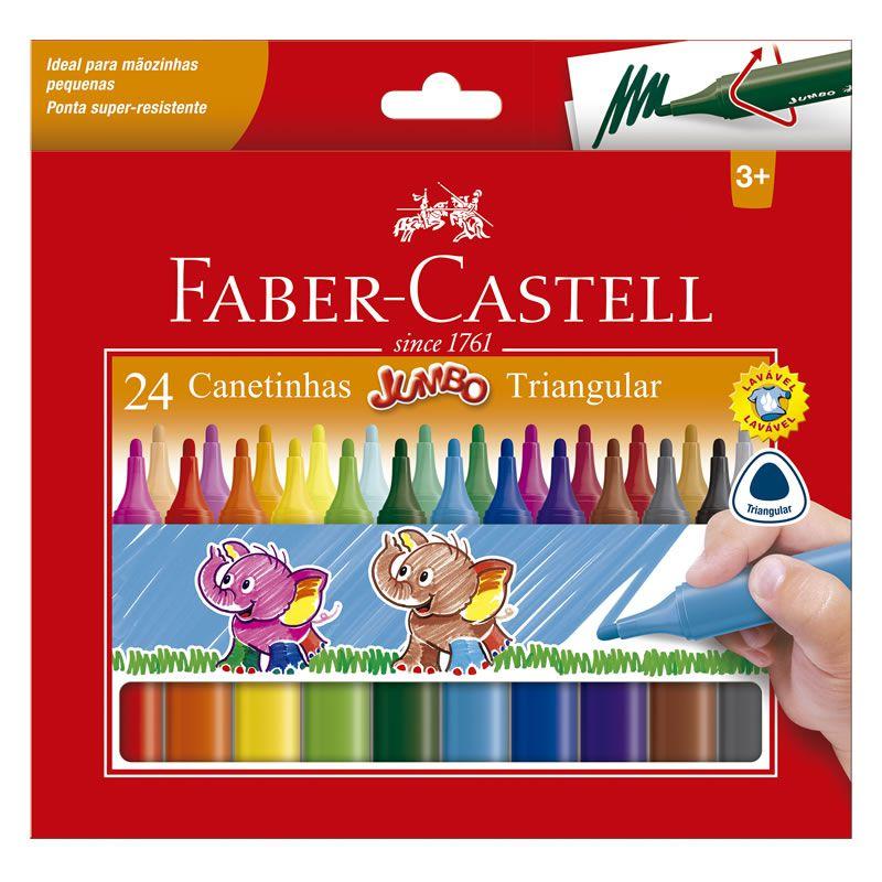 Caneta Hidrográfica Faber-Castell 24 Cores Jumbo Triangular 150224J 26675