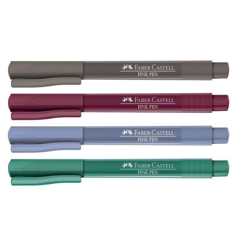 Caneta Hidrográfica Fine Pen Faber-Castell 4 Cores FPB/ES3ZF 27639