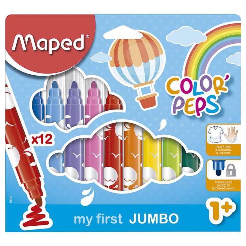 Caneta Hidrográfica Maped 12 Cores Jumbo Color Peps 846020 26469