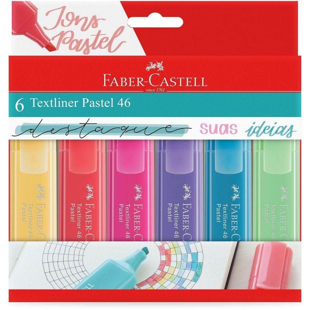 Caneta Marca Texto Faber-Castell Textliner 6 Tons Pastel MT/15466 29379