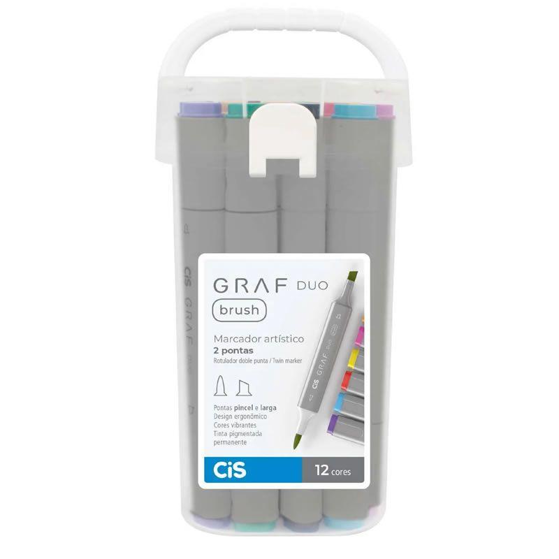 Caneta Marcador CiS Graf Duo Brush Estojo 12 Cores Basicas 60.9000 29200
