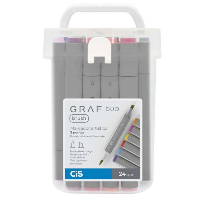 Caneta Marcador CiS Graf Duo Brush Estojo 24 Cores Basicas 60.9100 29201