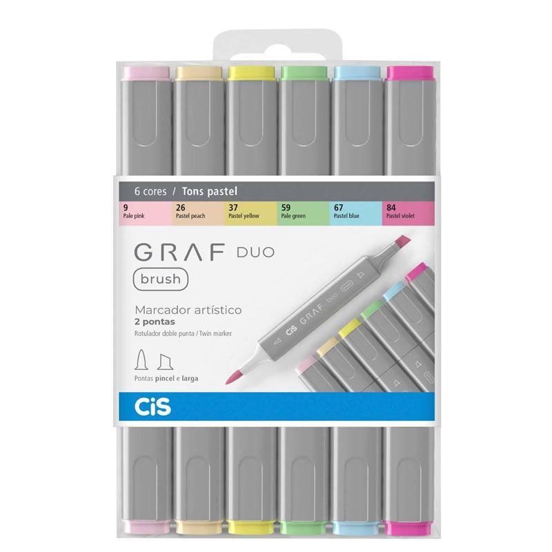 Caneta Marcador CiS Graf Duo Brush Estojo 6 Cores Pastel 60.8800 29199