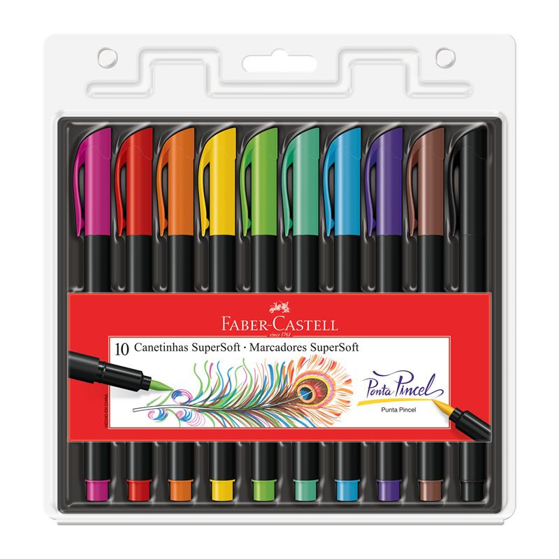 Caneta Pen Brush Faber-Castell Supersoft 10 Cores 15.0710SOFT 27168