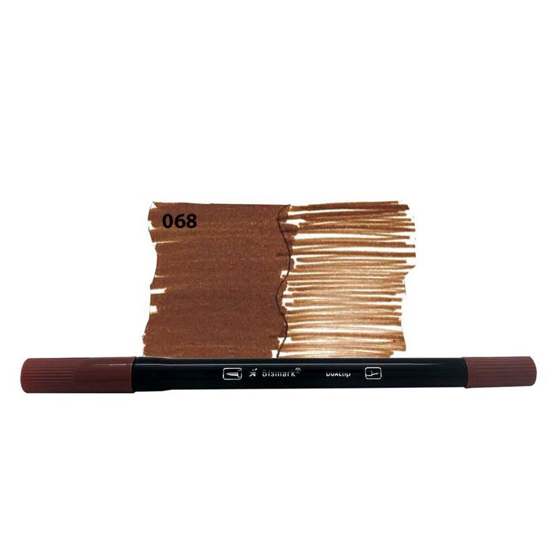 Caneta Pincel Bismark Dual Brush Dualtip Marrom 068 PK0100C 068 27032