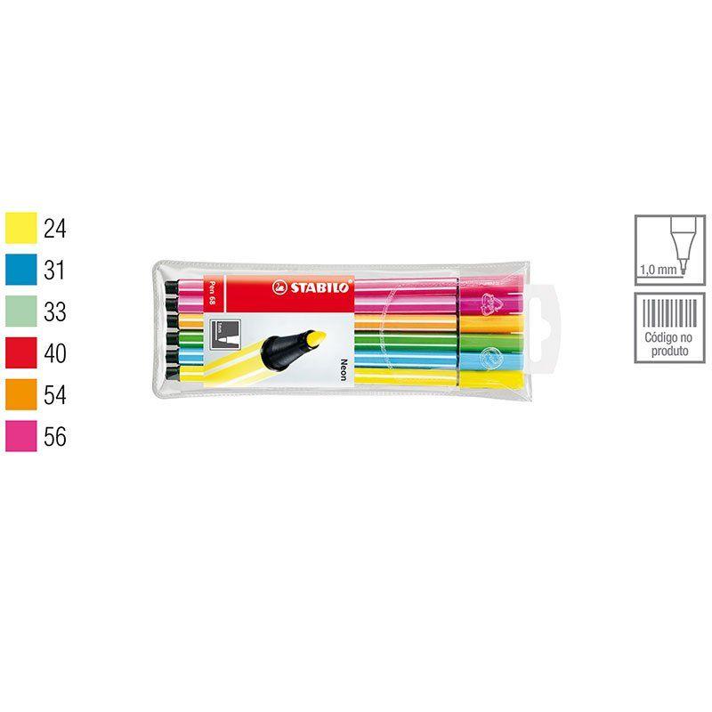 Caneta Stabilo Point 6806-1 Fine 1.0 Fina 6 Cores Neon 120.2300 25809