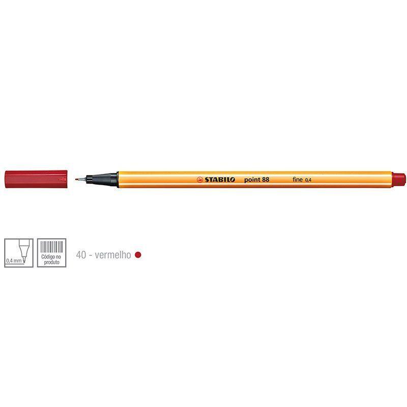 Caneta Stabilo Point 88/40 Fine 0.4 Extra Fina Vermelha 1185900 12934