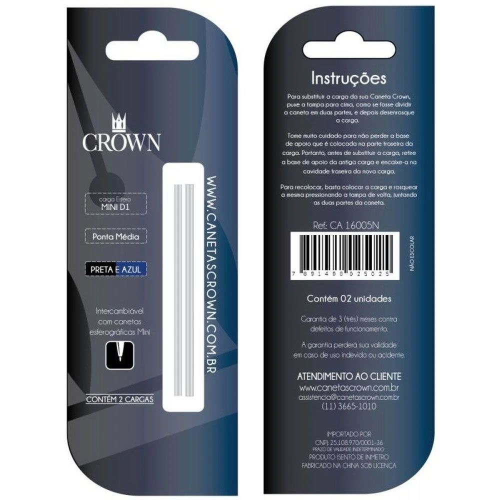 Carga Crown Esfero Mini D1 Azul + Preta 2 Un. Ca16005N 29341