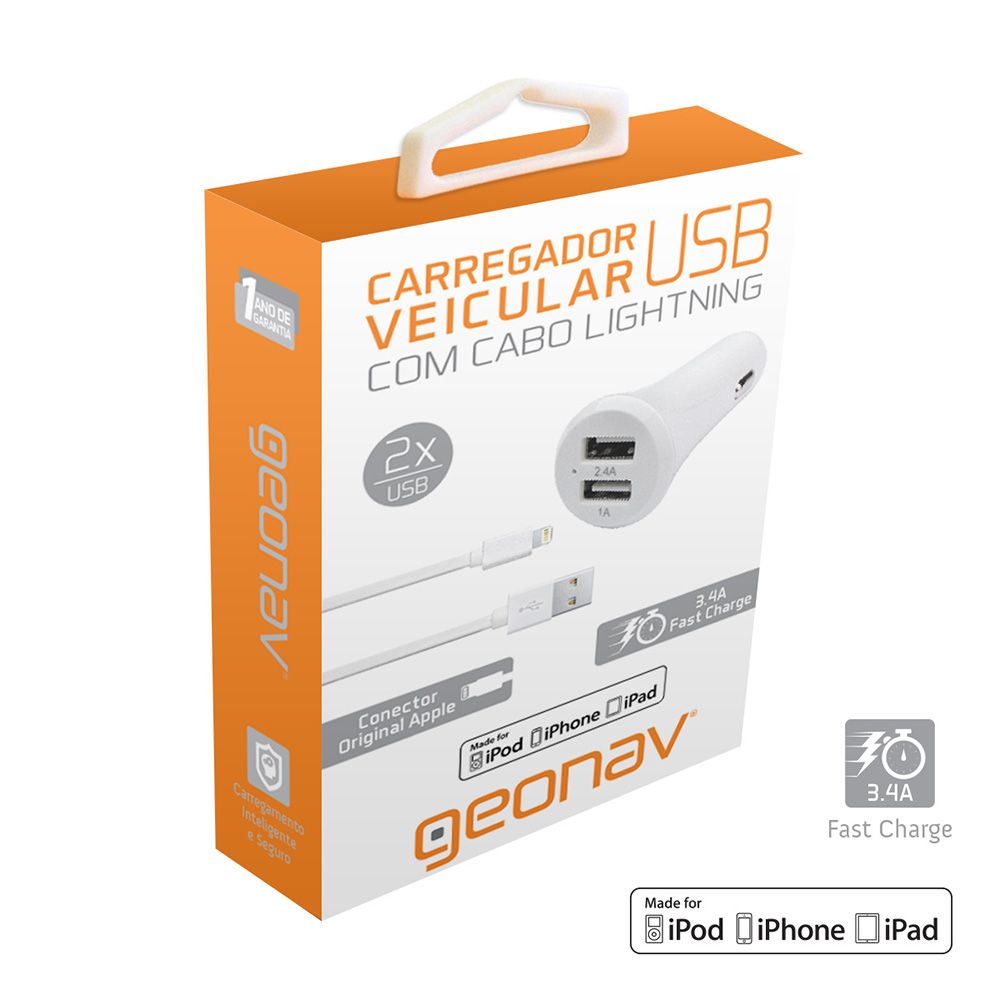 Kit Carregador Veicular Duplo USB 3.4A Com Cabo Lightning Mfi Branco para Iphone Ipod Ipad Ch34Dul Geonav 24241
