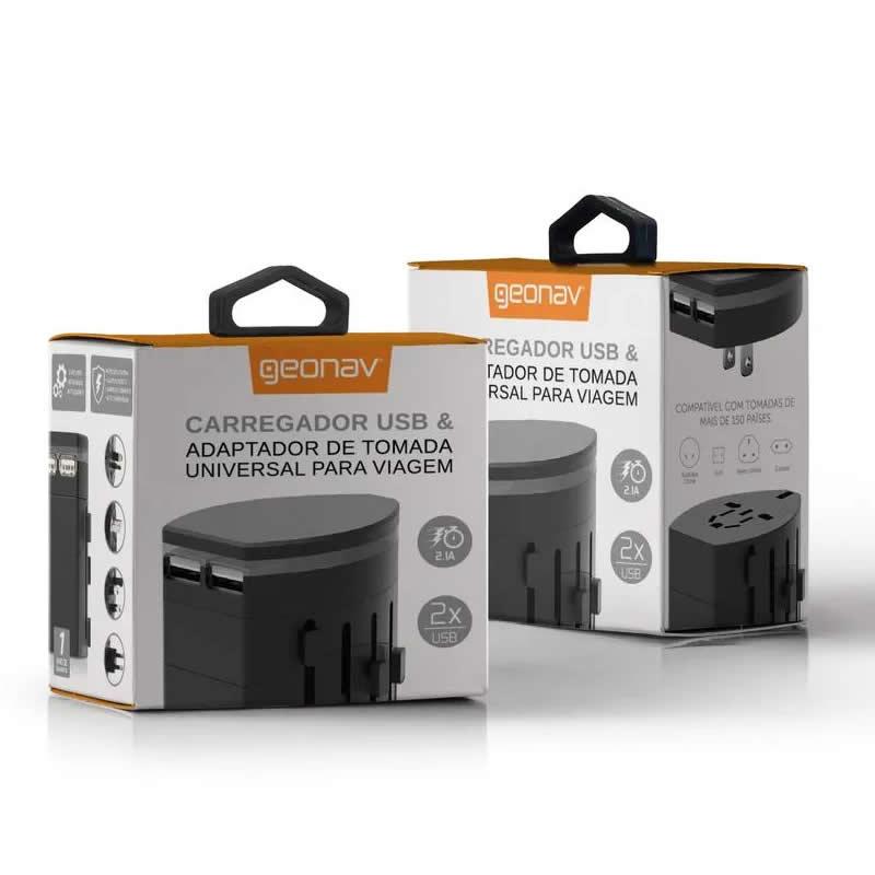 Carregador Veicular Geonav USB e Adap Tomada Universal Preto Chadub 24733