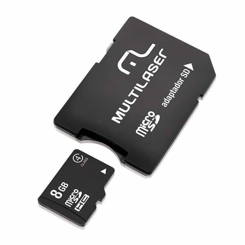 Cartão de Memória Multilaser Micro Sd 8Gb com Adpt para Sd MC004 - Preto 18199