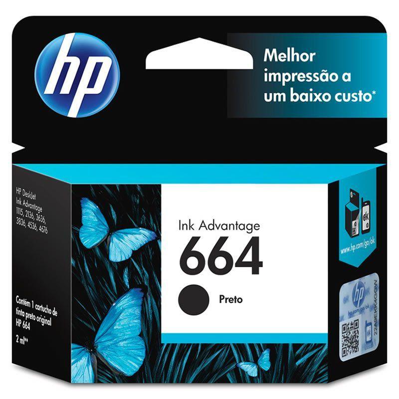 Cartucho HP 664 Preto Original (F6V29AB) 22332
