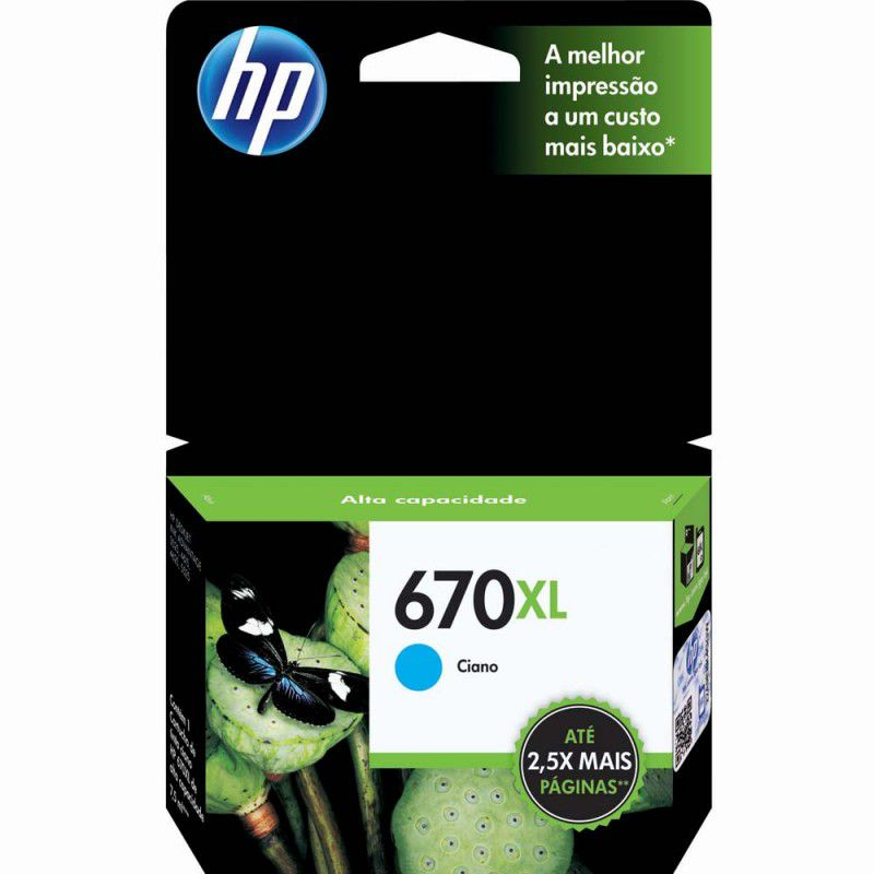 Cartucho HP 670 XL Ciano Original (CZ118AB) 17566