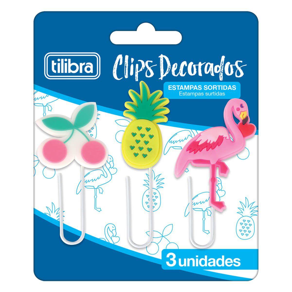 Clips Decorados Estampas Sortidas Tilibra 3 Un. 302791 28192