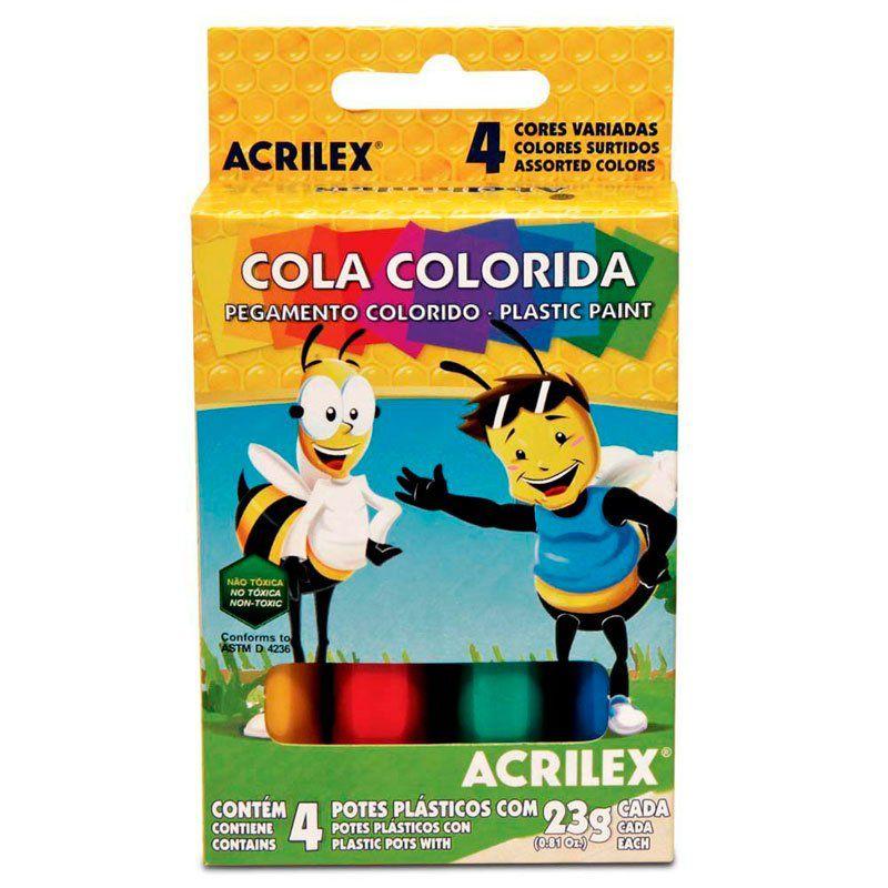 Cola Colorida Acrilex 4 Cores Sortidas 2604 04256
