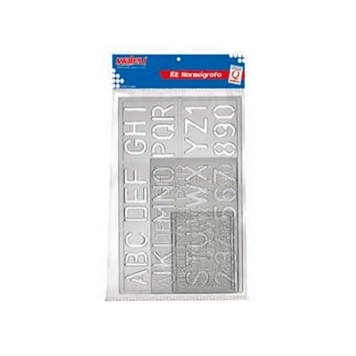 Conjunto Waleu Normógrafo Letras E Números 90 16282