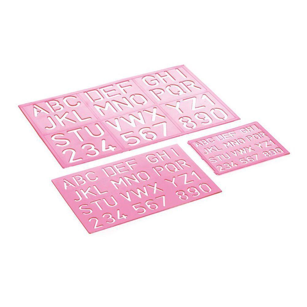 Conjunto Waleu Normografo Letras e Numeros Rosa 1014007 29278