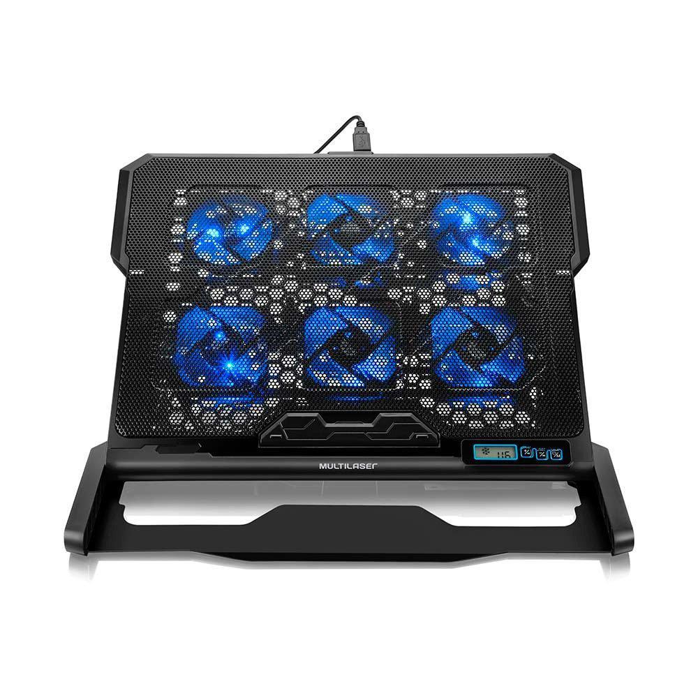 Suporte para Notebook Regulável Com Hexa Cooler com 6 Fans Led Azul Ac282 Multilaser 23019