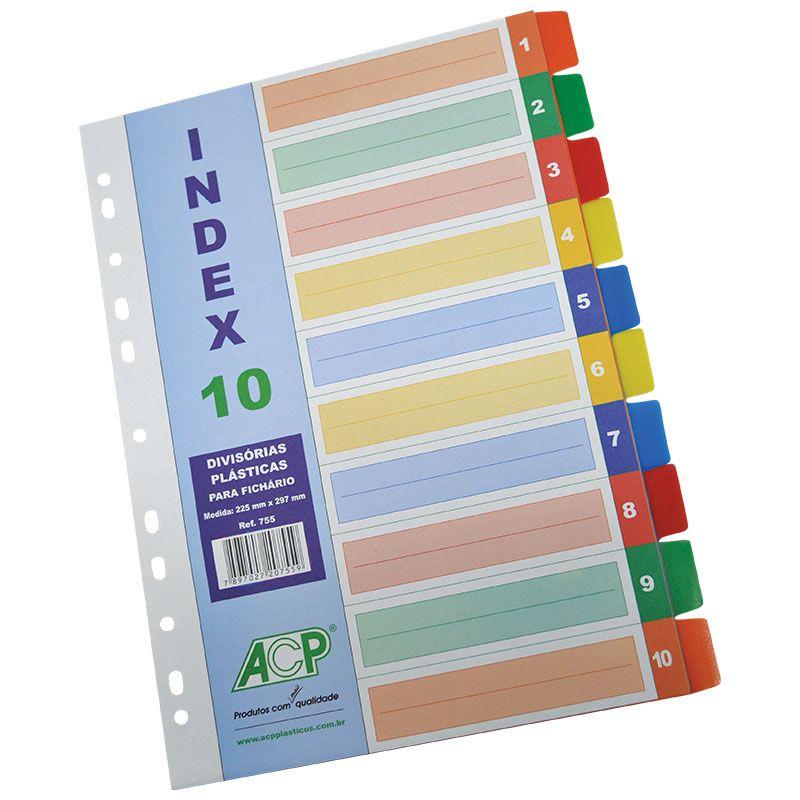 Divisória para Fichário A4 PP Index com 10 Divisórias Color 755 ACP 02030