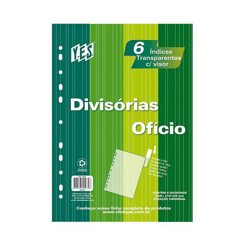 Divisoria para Fichario Yes Com 6 Oficio Transparente Cores Sortidas Com Visor 6Intb 11406