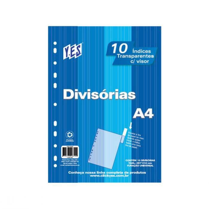 Divisória Cristal para Fichário Universitário 10 Div com Visor A4 10Intbacr Yes 12983