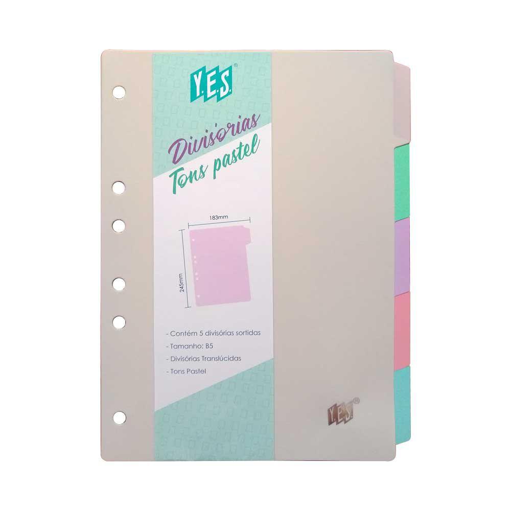 Divisoria Para Fichario Yes B5 Colegial 5 Divisórias Tons Pastel 5TBCS 27667