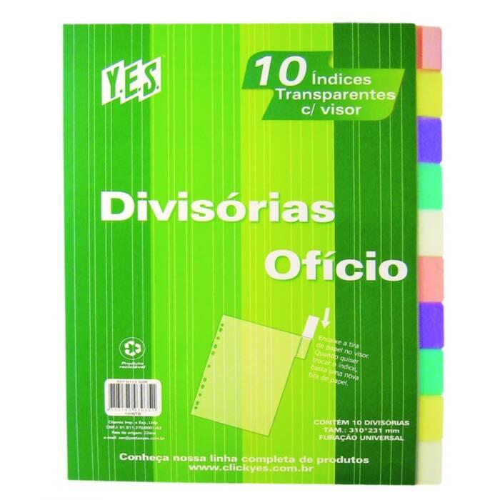 Divisória para Fichário Universitário com 10 Div com Visor A4 Cores Sortidas 10Intba Yes 15238