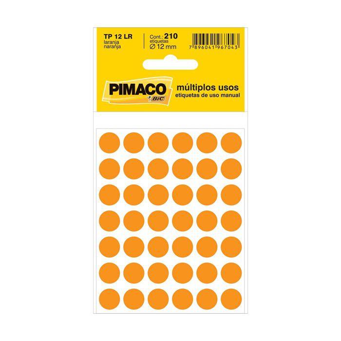 Etiqueta Pimaco Tp 12 Lr Laranja Redonda 14751