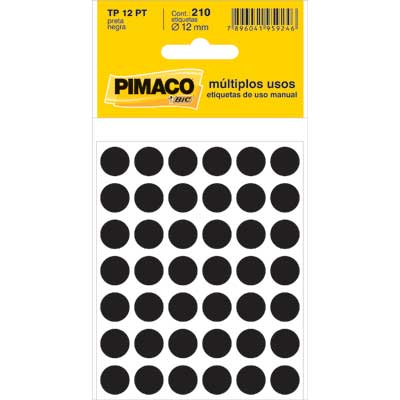 Etiqueta Pimaco Autoadesiva Tp12 Preta Redonda 12Mm  210 Un Tp-12Pt 14701