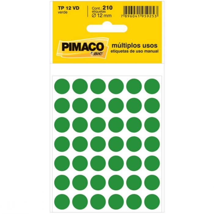 Etiqueta Pimaco Tp 12 Vd Verde Redonda 14659