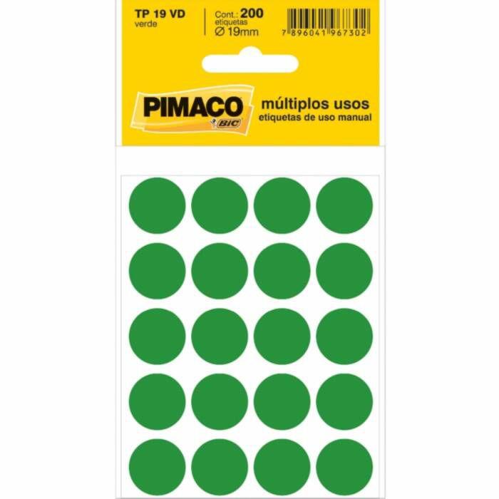 Etiqueta Pimaco Tp 19 Vd Verde Redonda 15248