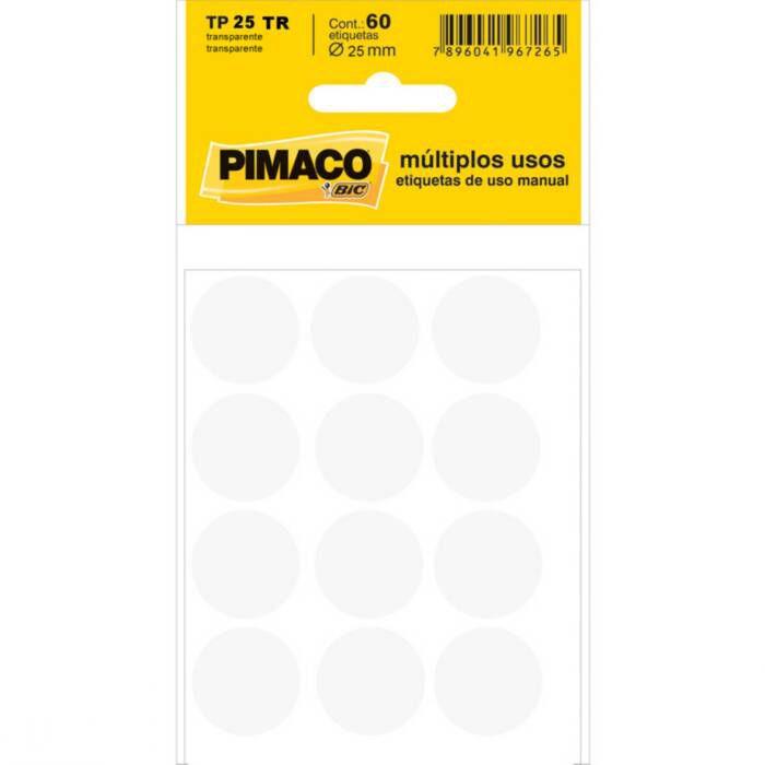 Etiqueta Pimaco Tp 25 Tr Transparente Redonda 14606