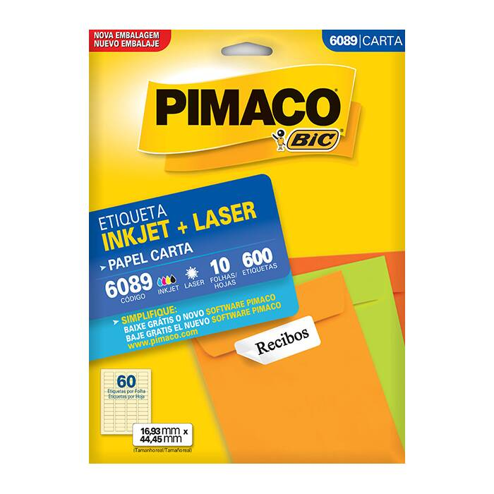 Etiqueta Pimaco Inkjet + Laser - 6089 02148