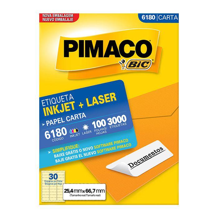 Etiqueta Pimaco Inkjet + Laser - 6180 01253