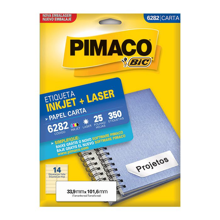 Etiqueta Pimaco Inkjet + Laser - 6282 00633