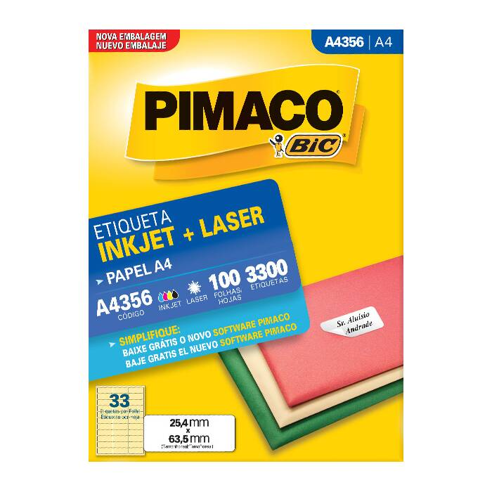 Etiqueta Pimaco Inkjet + Laser - A4356 02181