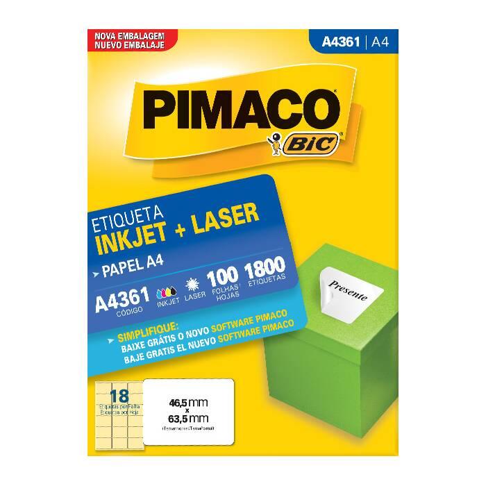 Etiqueta Pimaco Inkjet + Laser - A4361 02182