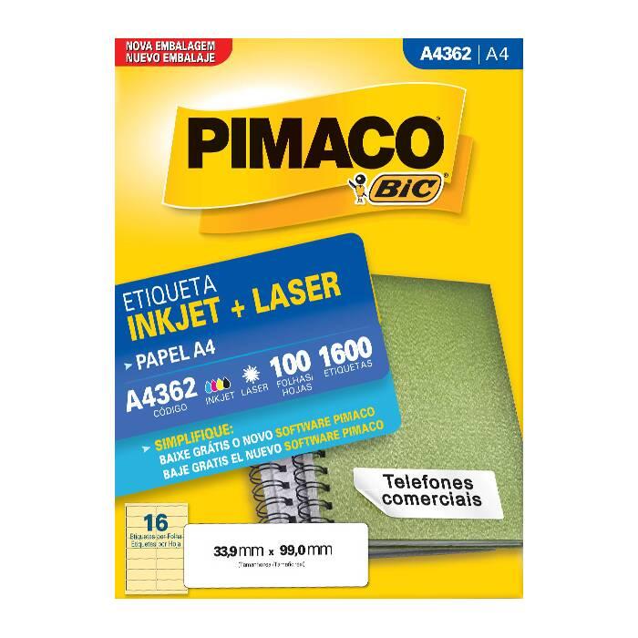 Etiqueta Pimaco Inkjet + Laser - A4362 00436