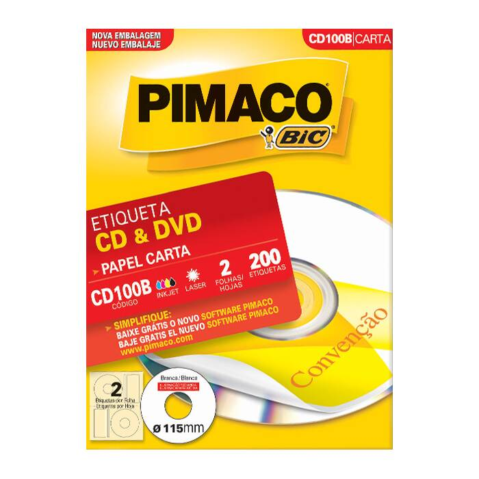 Etiqueta Pimaco Inkjet + Laser - Cd100B 07474